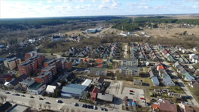 Panorama Over Small Town Near River With Rotation