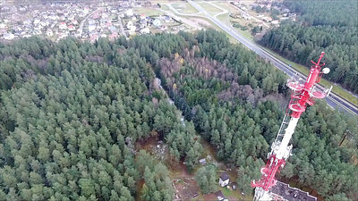 Flight Over The Highway, Tv Tower And Forest 7