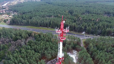 Flight Over The Highway, Tv Tower And Forest 8