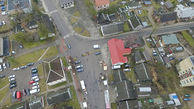 Panorama Over Small Town, Fair On Street