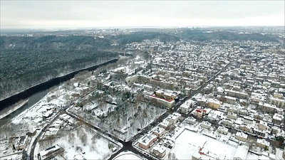 Panorama Over The City Near River With Rotation, Winter 3