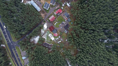 Vertical Panorama Over Tv Tower, Highway, Houses And Forest