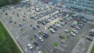 Landing Over Parking Near Supermarket