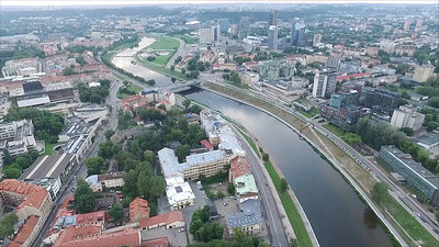 Aerial View Over The City Near River 9