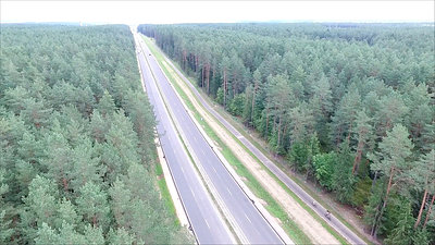 Panorama Over The Highway Near The Forest 1