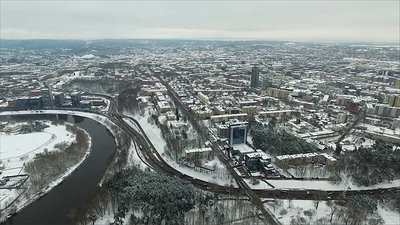 Aerial View Over The City Near River, Winter 4