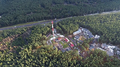 Flight Around Over The Highway, Tv Tower And Forest 2