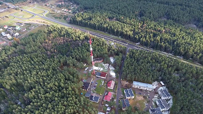 Flight Around Over The Highway, Tv Tower And Forest 3