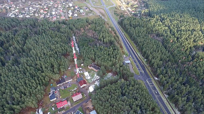 Flight Around Over The Highway, Tv Tower And Forest 4
