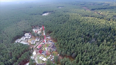 Flight Around Over The Highway, Tv Tower And Forest 5