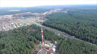 Flight Around Over The Highway, Tv Tower And Forest 7