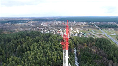 Flight Around Over The Highway, Tv Tower And Forest 8