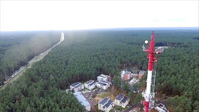 Flight Around Over The Highway, Tv Tower And Forest 9