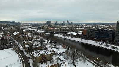 Panorama Over The City Near River With Rotation, Winter 1