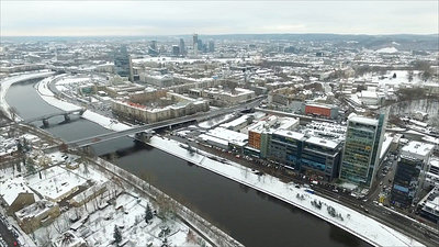Panorama Over The City Near River With Rotation, Winter 2