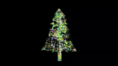Forming Christmas Tree From Colored Stars